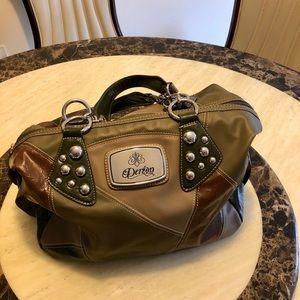 New Dereon Colour-Blocked Leather Boston Handbag